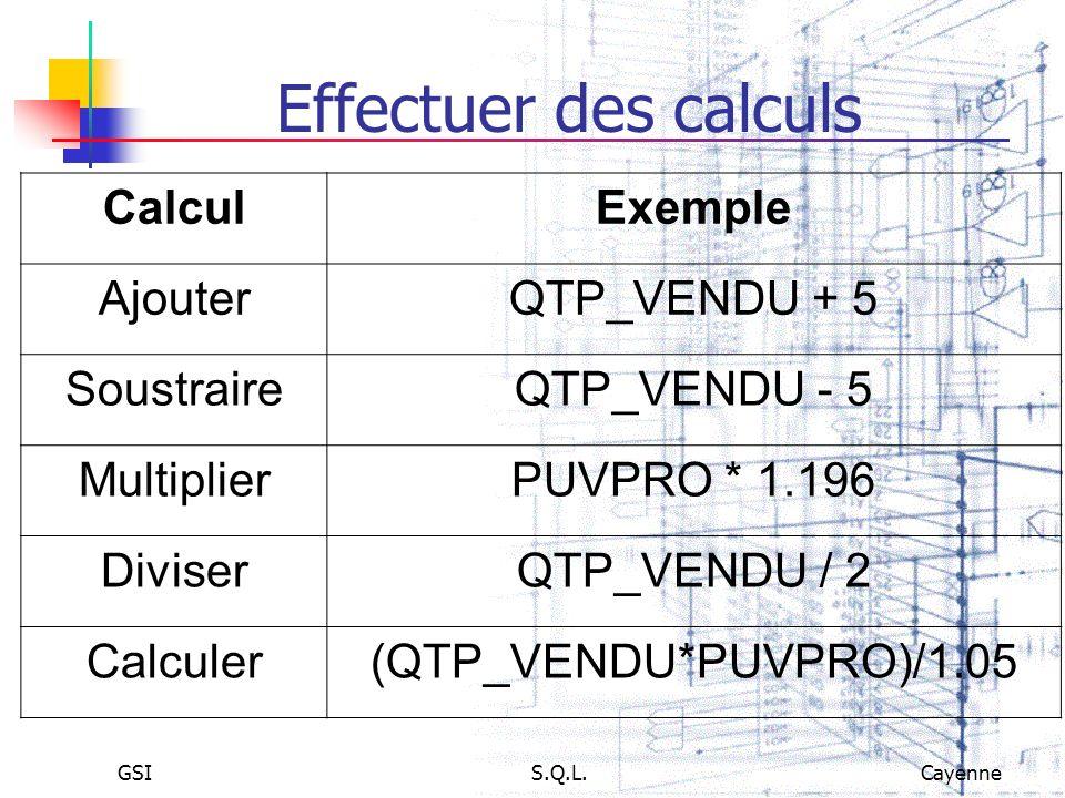 GSIS.Q.L.Cayenne Effectuer des calculs CalculExemple AjouterQTP_VENDU + 5 SoustraireQTP_VENDU - 5 MultiplierPUVPRO * 1.196 DiviserQTP_VENDU / 2 Calcul