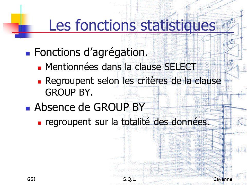 GSIS.Q.L.Cayenne Les fonctions statistiques Fonctions dagrégation. Mentionnées dans la clause SELECT Regroupent selon les critères de la clause GROUP