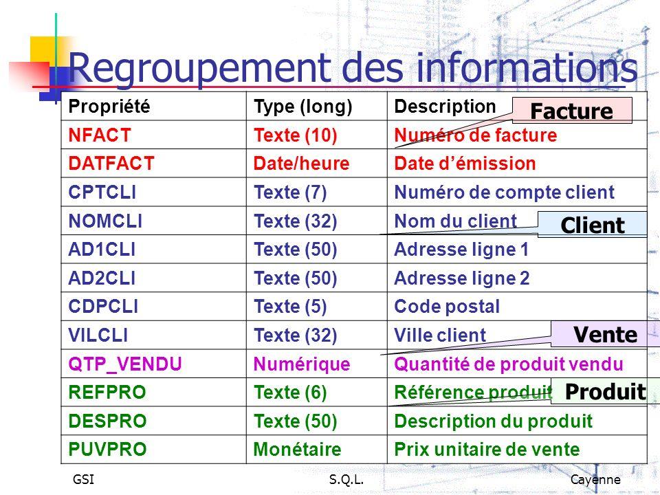 GSIS.Q.L.Cayenne Regroupement des informations PropriétéType (long)Description NFACTTexte (10)Numéro de facture DATFACTDate/heureDate démission CPTCLI