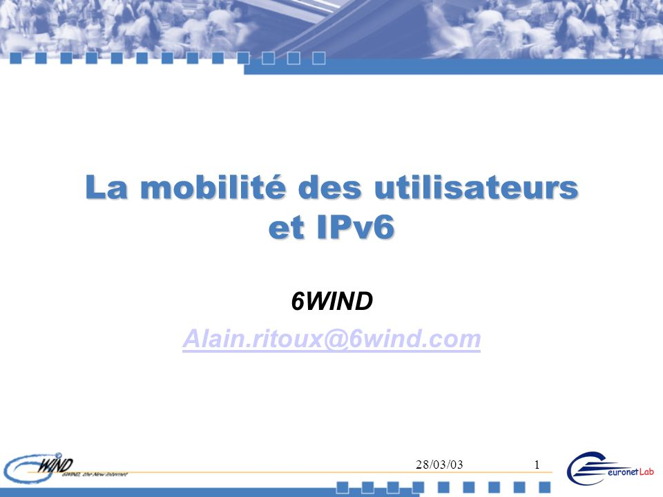 28/03/0312 Sécurisation MIPv6 (1) Les Binding Update DOIVENT être authentifiés Defini à l IETF Si on dispose dune PKI ou dun secret partagé IPsec Cas usuel : Mobile Home Agent Un draft décrit les details IPSec (SPD, SAD, …) Sinon utiliser une authentification faible, Technique dite de Return Routability Définie dans le draft #18
