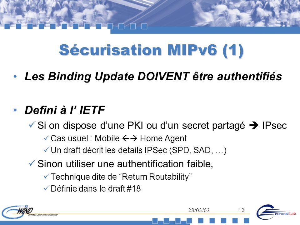 28/03/0312 Sécurisation MIPv6 (1) Les Binding Update DOIVENT être authentifiés Defini à l IETF Si on dispose dune PKI ou dun secret partagé IPsec Cas
