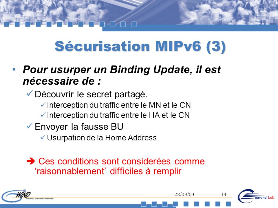 28/03/0314 Sécurisation MIPv6 (3) Pour usurper un Binding Update, il est nécessaire de : Découvrir le secret partagé. Interception du traffic entre le