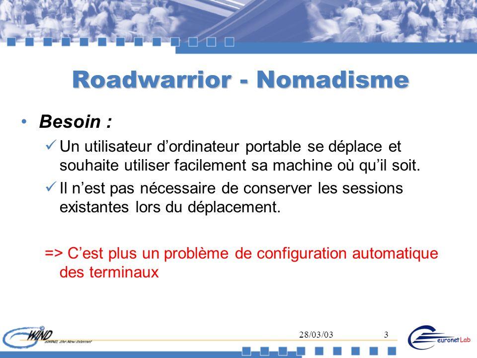 28/03/033 Roadwarrior - Nomadisme Besoin : Un utilisateur dordinateur portable se déplace et souhaite utiliser facilement sa machine où quil soit. Il