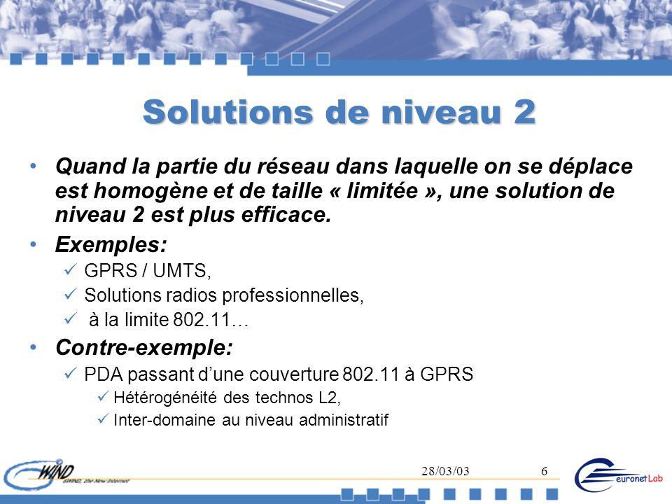 28/03/036 Solutions de niveau 2 Quand la partie du réseau dans laquelle on se déplace est homogène et de taille « limitée », une solution de niveau 2
