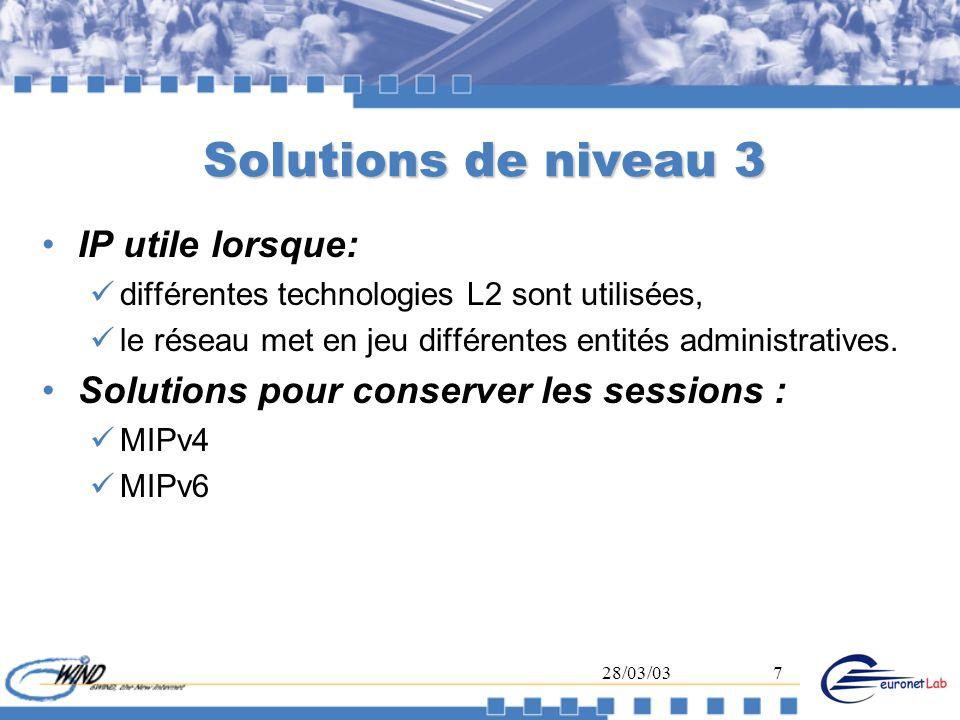 28/03/037 Solutions de niveau 3 IP utile lorsque: différentes technologies L2 sont utilisées, le réseau met en jeu différentes entités administratives
