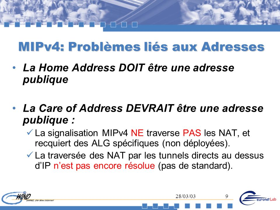 28/03/0310 Mobile IP version 6 (MIPv6) Deux types de réseaux : Home Network Foreign Network Trois acteurs : Mobile Node (MN) Home Agent (HA) Correspondant (CN) Le Mobile a deux types dadresses : Home Address : permanente pendant ses déplacements (H@) Care of Address : liée au réseau visité (Co@)