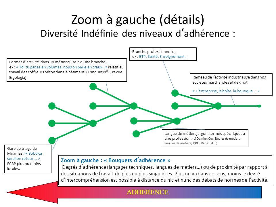 Zoom à gauche (détails) Diversité Indéfinie des niveaux dadhérence : ADHERENCE Formes dactivité dans un métier au sein dune branche, ex : « Toi tu par