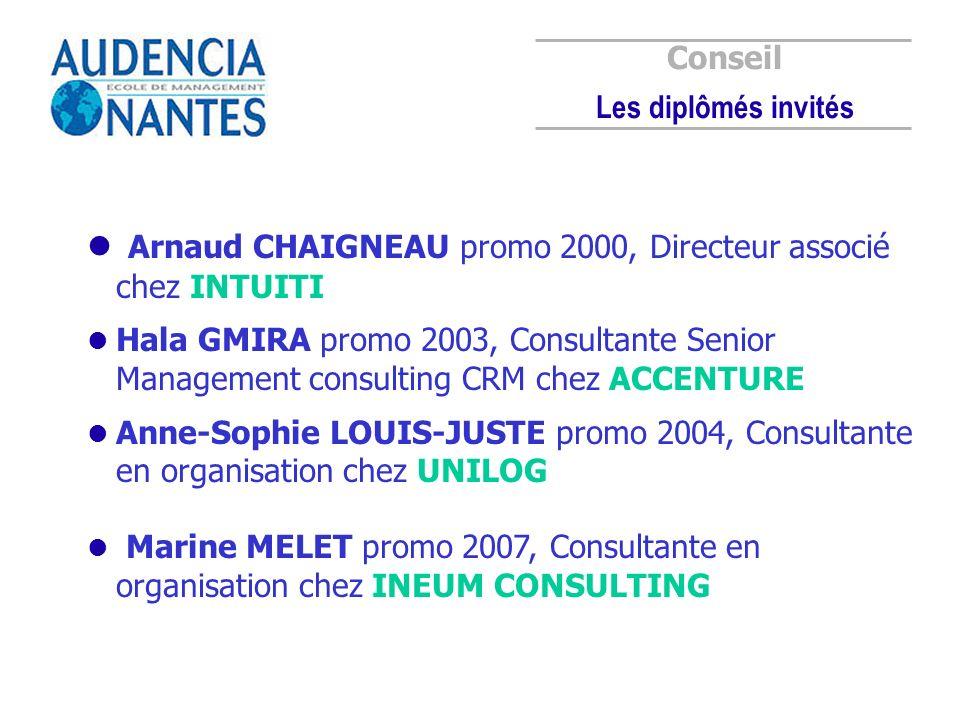 Arnaud CHAIGNEAU promo 2000, Directeur associé chez INTUITI Hala GMIRA promo 2003, Consultante Senior Management consulting CRM chez ACCENTURE Anne-So