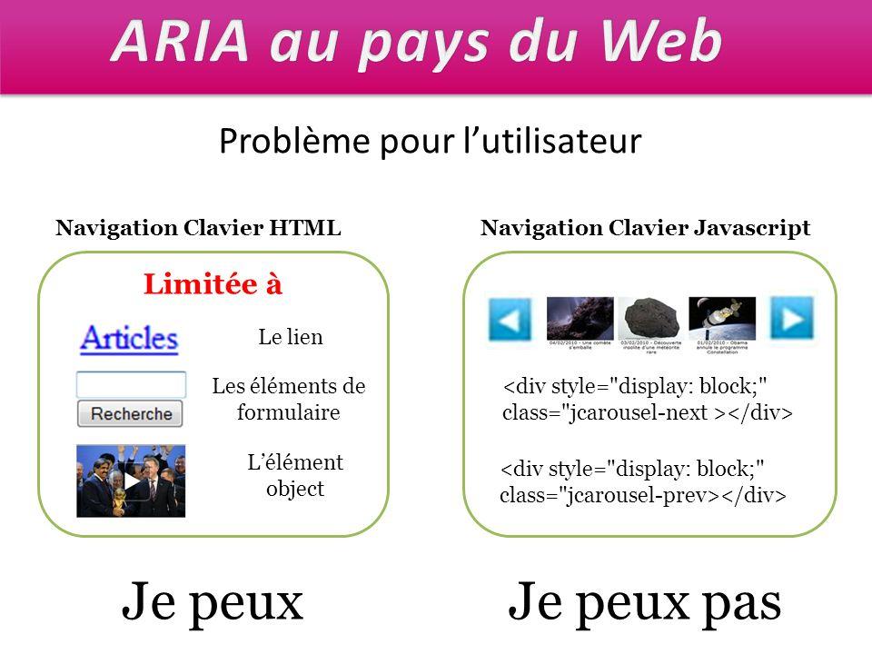 Problème pour lutilisateur Navigation Clavier HTML Limitée à Le lien Les éléments de formulaire Lélément object Navigation Clavier Javascript Je peuxJ