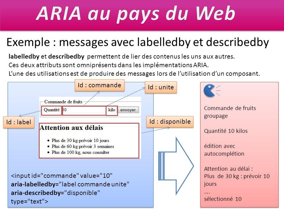 Exemple : messages avec labelledby et describedby labelledby et describedby permettent de lier des contenus les uns aux autres. Ces deux attributs son
