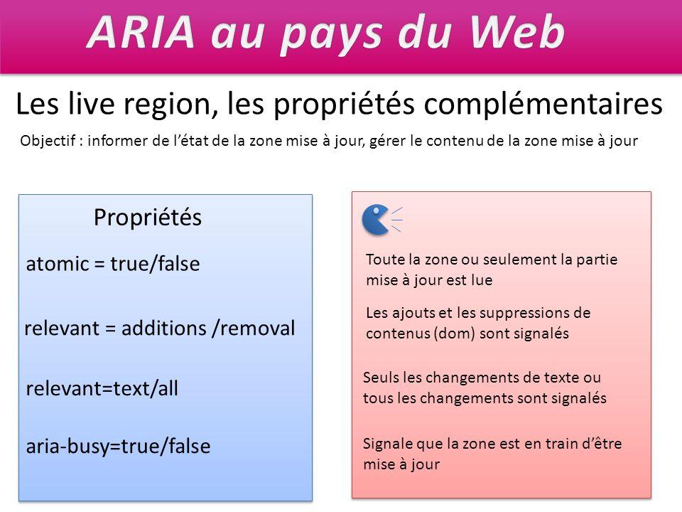 Les live region, les propriétés complémentaires Objectif : informer de létat de la zone mise à jour, gérer le contenu de la zone mise à jour Propriété