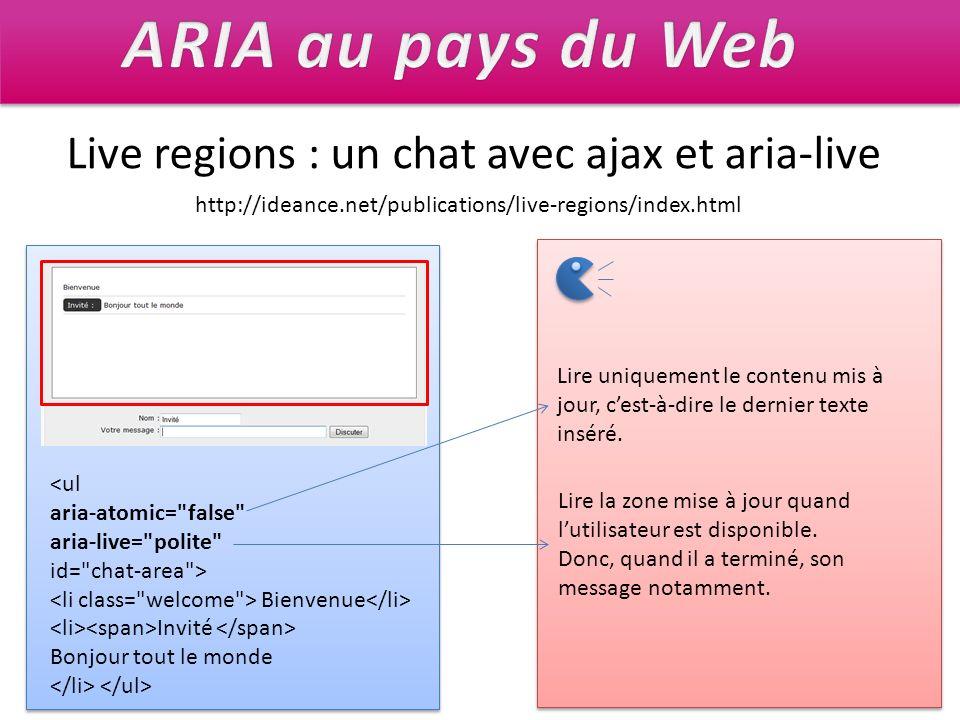 Live regions : un chat avec ajax et aria-live Bienvenue Invité Bonjour tout le monde Lire uniquement le contenu mis à jour, cest-à-dire le dernier tex