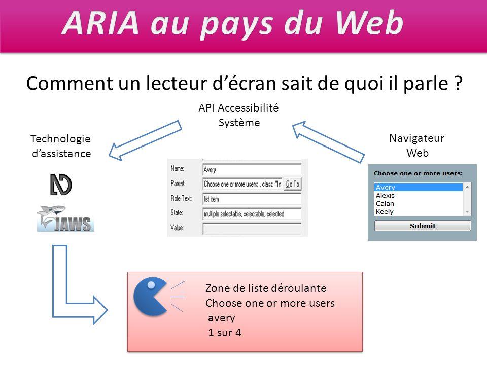 Technologie dassistance API Accessibilité Système Navigateur Web Comment un lecteur décran sait de quoi il parle ? Zone de liste déroulante Choose one