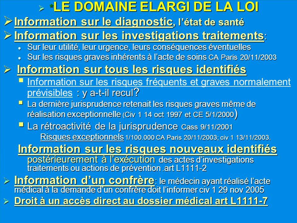 * LE DOMAINE ELARGI DE LA LOI * LE DOMAINE ELARGI DE LA LOI Information sur le diagnostic, létat de santé Information sur le diagnostic, létat de sant