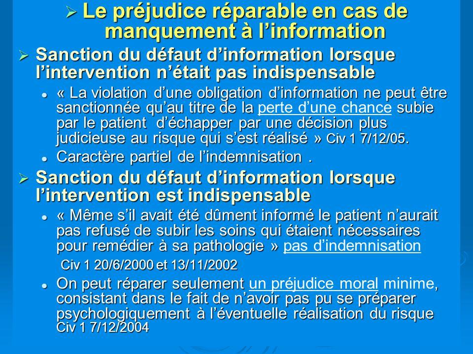 Le préjudice réparable en cas de manquement à linformation Le préjudice réparable en cas de manquement à linformation Sanction du défaut dinformation