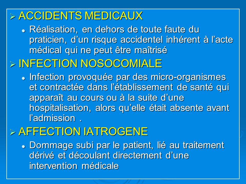 ACCIDENTS MEDICAUX ACCIDENTS MEDICAUX Réalisation, en dehors de toute faute du praticien, dun risque accidentel inhérent à lacte médical qui ne peut ê