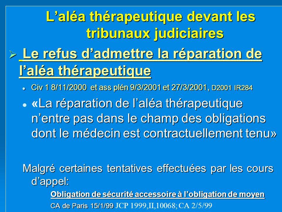 Laléa thérapeutique devant les tribunaux judiciaires Le refus dadmettre la réparation de laléa thérapeutique Le refus dadmettre la réparation de laléa