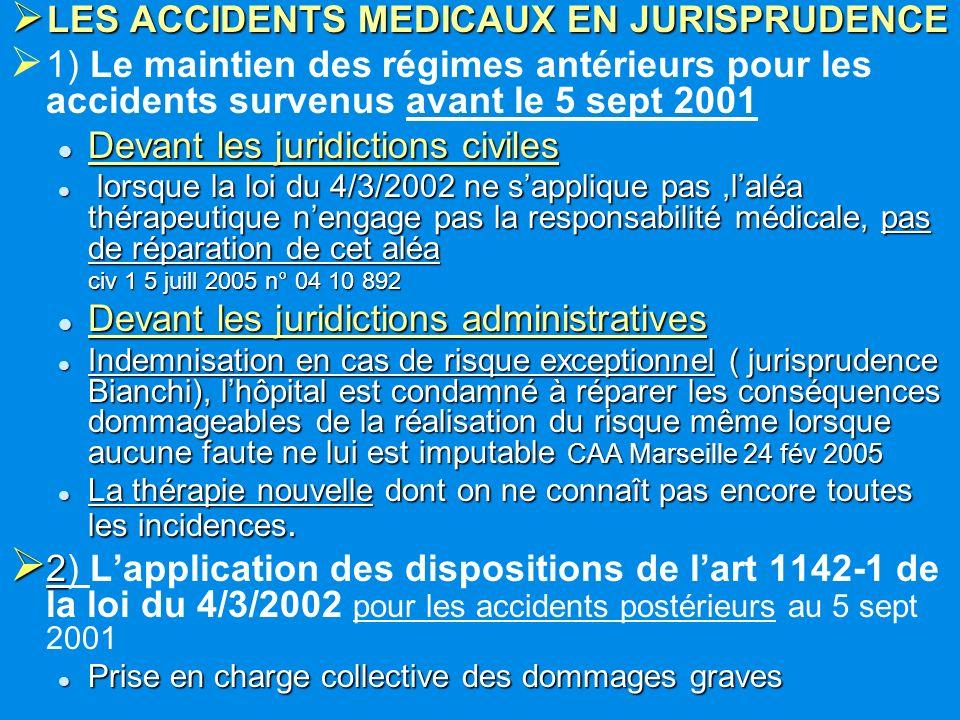 LES ACCIDENTS MEDICAUX EN JURISPRUDENCE LES ACCIDENTS MEDICAUX EN JURISPRUDENCE 1) Le maintien des régimes antérieurs pour les accidents survenus avan