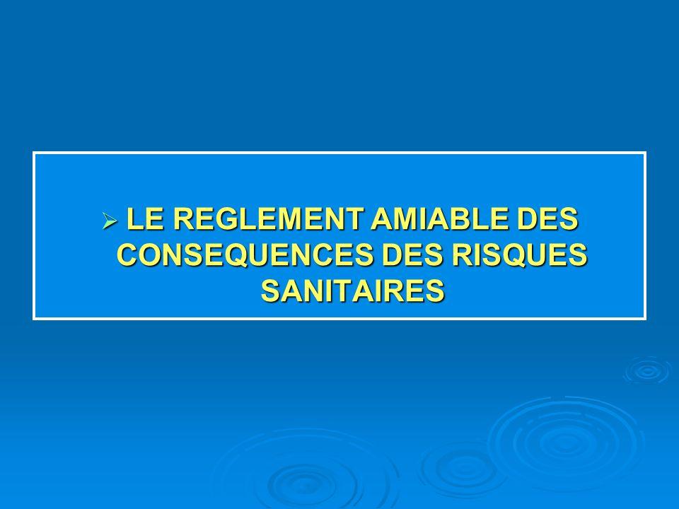 LE REGLEMENT AMIABLE DES CONSEQUENCES DES RISQUES SANITAIRES LE REGLEMENT AMIABLE DES CONSEQUENCES DES RISQUES SANITAIRES