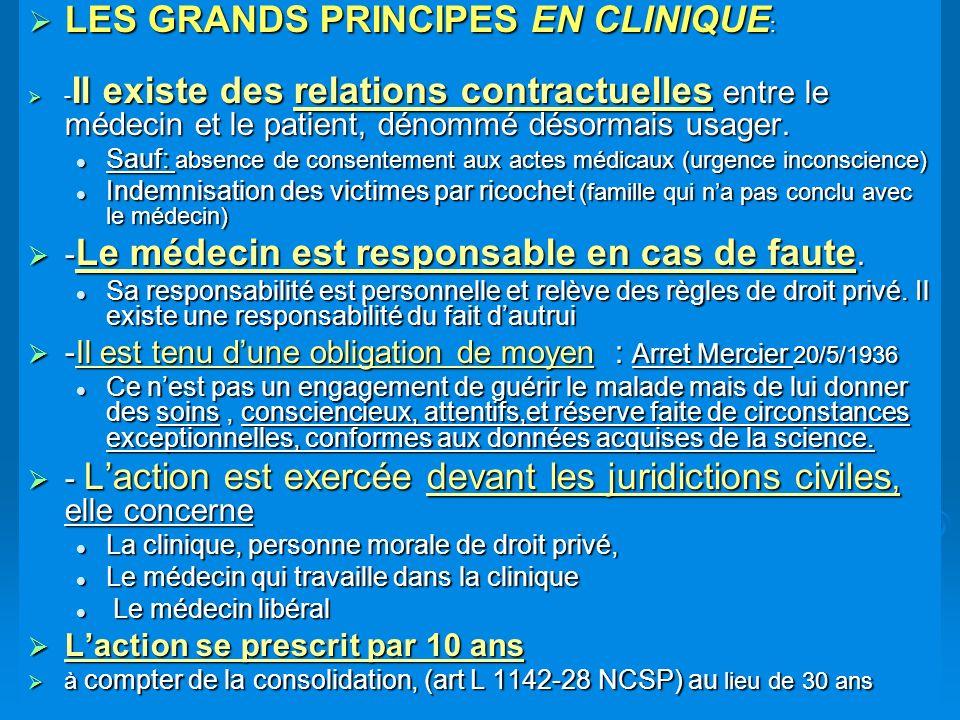 LES GRANDS PRINCIPES EN CLINIQUE : LES GRANDS PRINCIPES EN CLINIQUE : - Il existe des relations contractuelles entre le médecin et le patient, dénommé