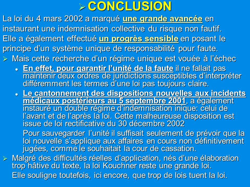 CONCLUSION CONCLUSION La loi du 4 mars 2002 a marqué une grande avancée en instaurant une indemnisation collective du risque non fautif. Elle a égalem