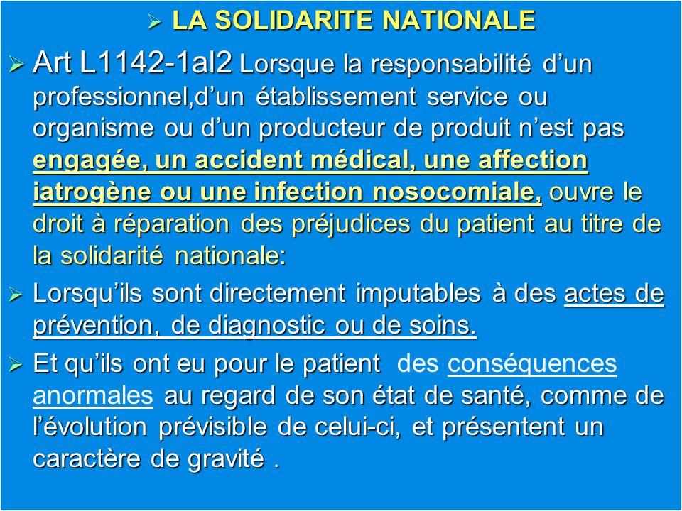 LA SOLIDARITE NATIONALE LA SOLIDARITE NATIONALE Art L1142-1al2 Lorsque la responsabilité dun professionnel,dun établissement service ou organisme ou d