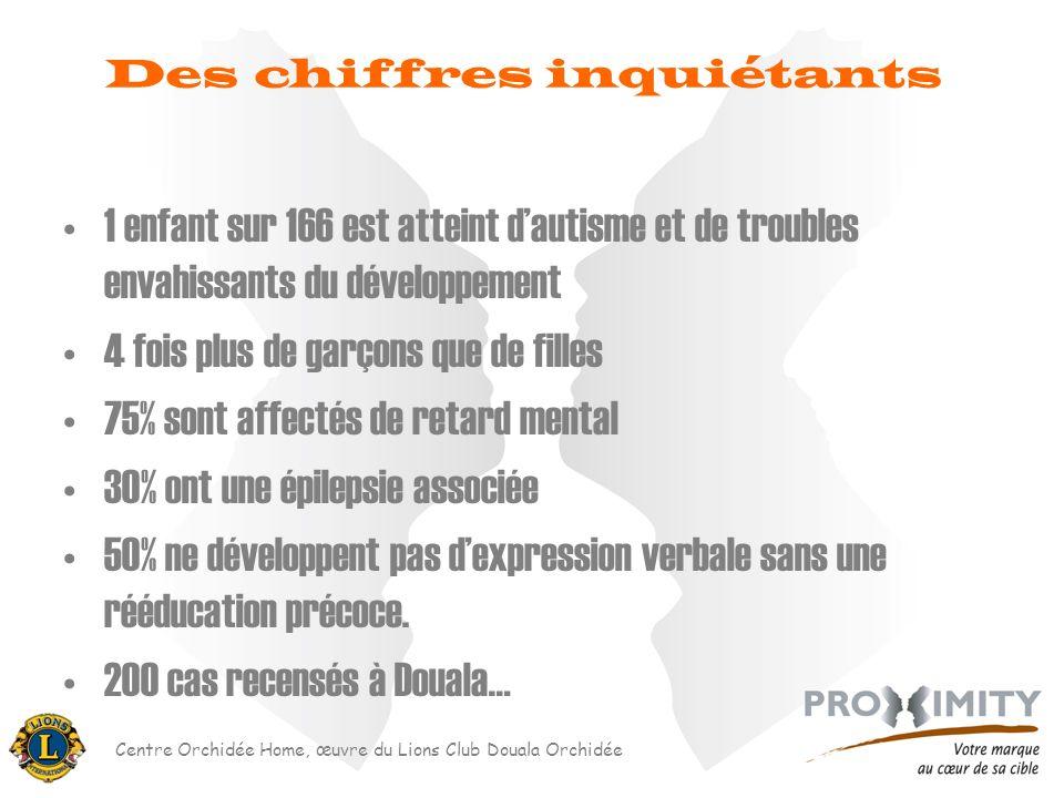 Centre Orchidée Home, œuvre du Lions Club Douala Orchidée Des chiffres inquiétants 1 enfant sur 166 est atteint dautisme et de troubles envahissants d