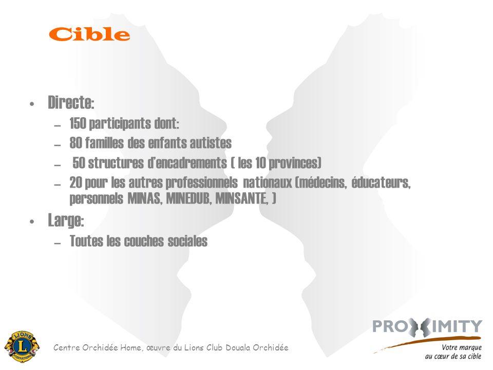 Centre Orchidée Home, œuvre du Lions Club Douala Orchidée Directe: –150 participants dont: –80 familles des enfants autistes – 50 structures dencadrem