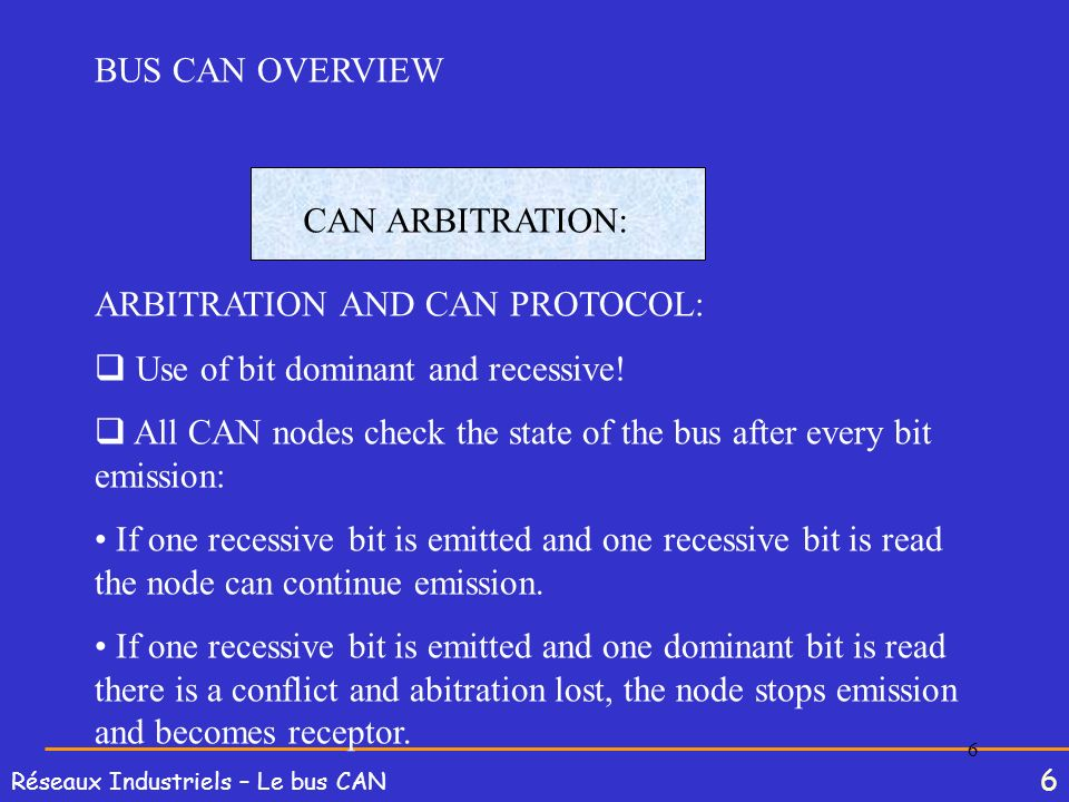 6 Réseaux Industriels – Le bus CAN 6 BUS CAN OVERVIEW CAN ARBITRATION: ARBITRATION AND CAN PROTOCOL: Use of bit dominant and recessive! All CAN nodes