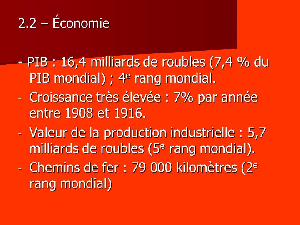 2.2 – Économie - PIB : 16,4 milliards de roubles (7,4 % du PIB mondial) ; 4 e rang mondial. - Croissance très élevée : 7% par année entre 1908 et 1916