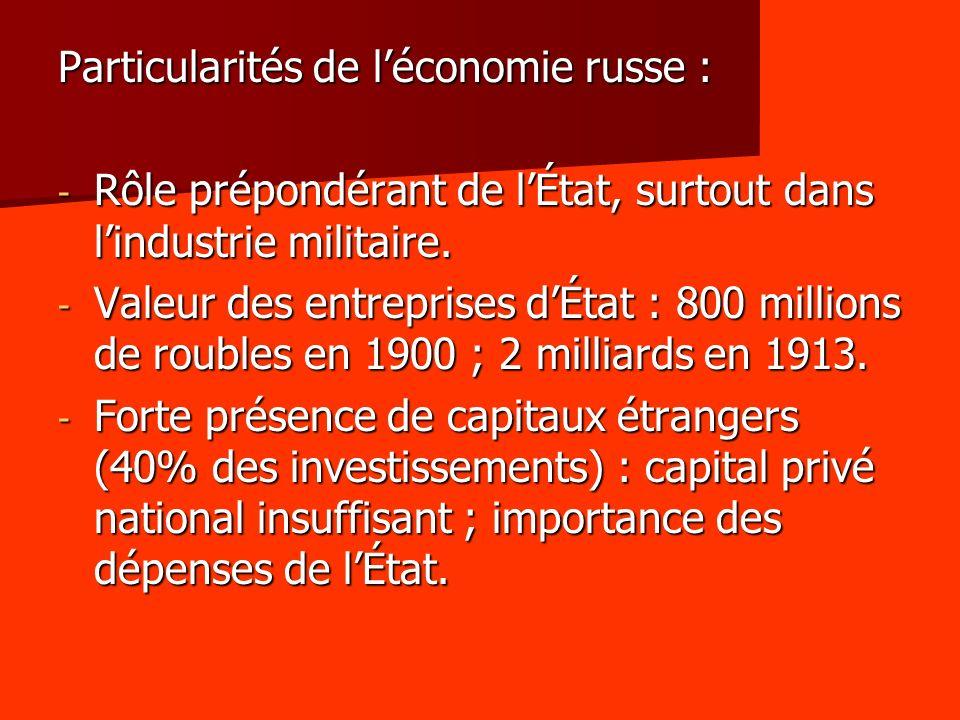 Particularités de léconomie russe : - Rôle prépondérant de lÉtat, surtout dans lindustrie militaire. - Valeur des entreprises dÉtat : 800 millions de