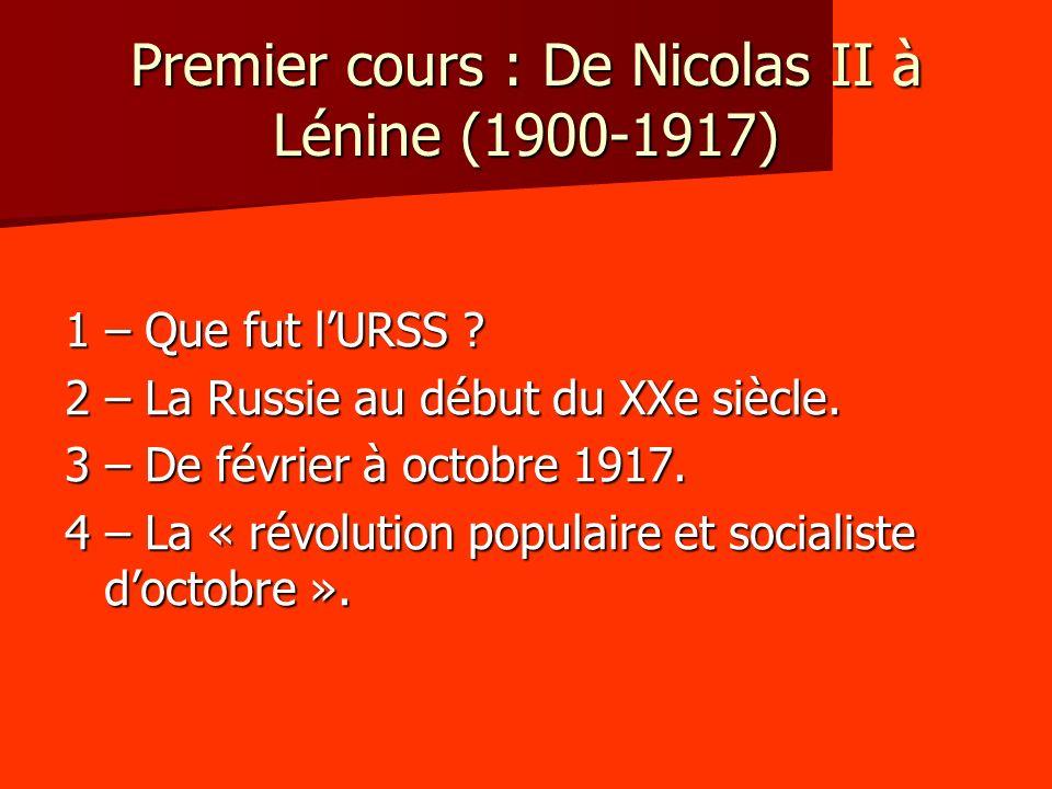 Premier cours : De Nicolas II à Lénine (1900-1917) 1 – Que fut lURSS ? 2 – La Russie au début du XXe siècle. 3 – De février à octobre 1917. 4 – La « r