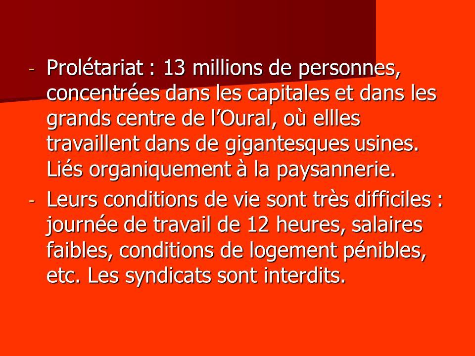- Prolétariat : 13 millions de personnes, concentrées dans les capitales et dans les grands centre de lOural, où ellles travaillent dans de gigantesqu