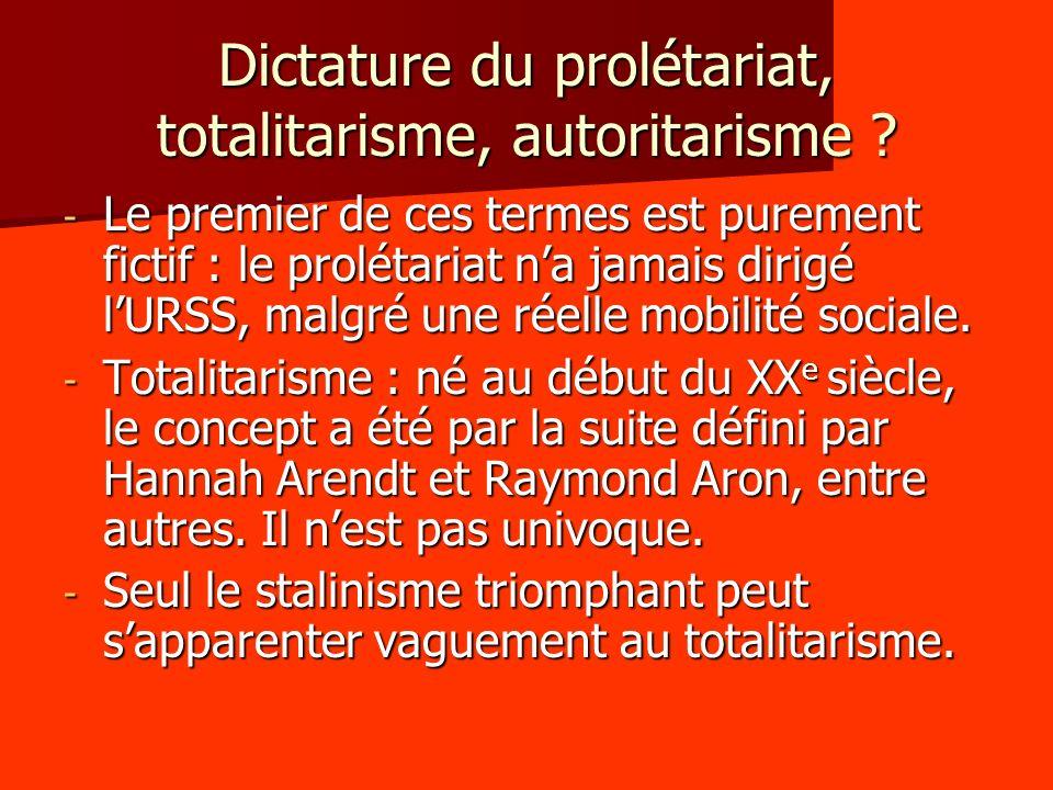Dictature du prolétariat, totalitarisme, autoritarisme ? - Le premier de ces termes est purement fictif : le prolétariat na jamais dirigé lURSS, malgr