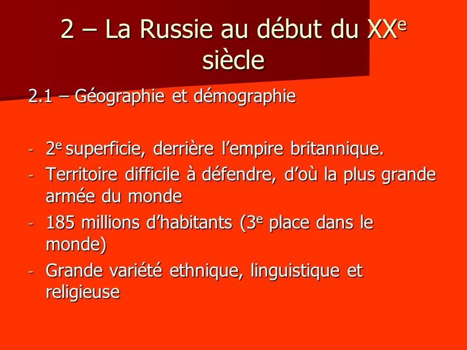 2 – La Russie au début du XX e siècle 2.1 – Géographie et démographie - 2 e superficie, derrière lempire britannique. - Territoire difficile à défendr
