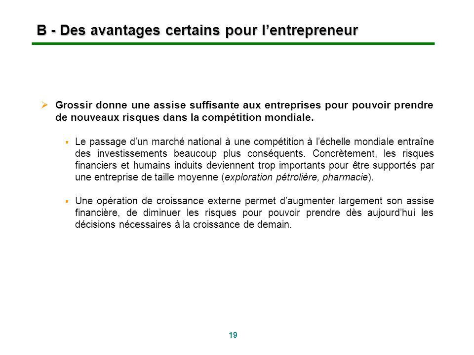 19 B - Des avantages certains pour lentrepreneur Grossir donne une assise suffisante aux entreprises pour pouvoir prendre de nouveaux risques dans la
