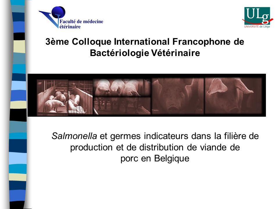 Salmonella et germes indicateurs dans la filière de production et de distribution de viande de porc en Belgique 3ème Colloque International Francophon