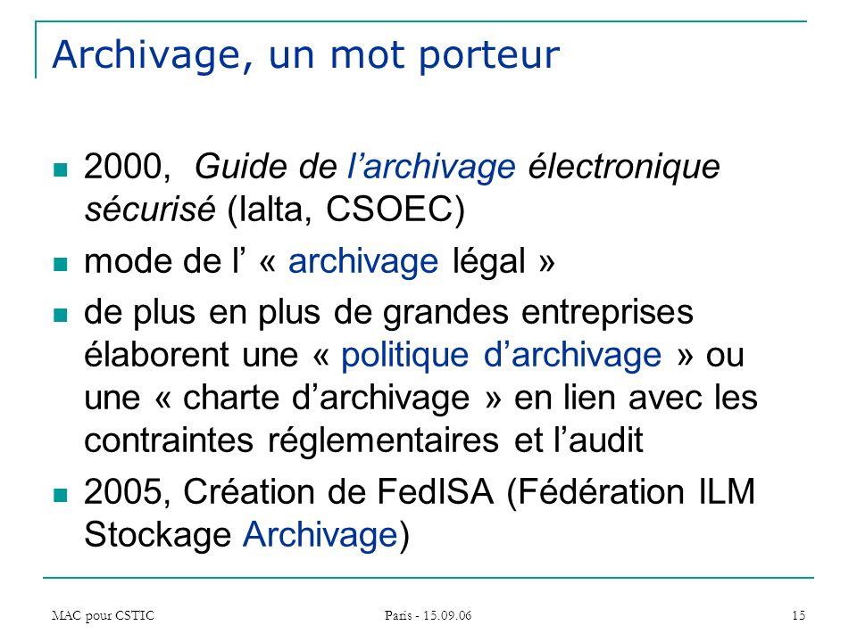 MAC pour CSTIC Paris - 15.09.06 15 Archivage, un mot porteur 2000, Guide de larchivage électronique sécurisé (Ialta, CSOEC) mode de l « archivage léga