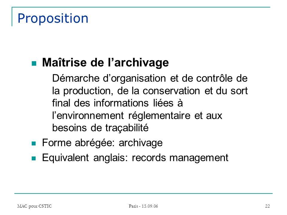MAC pour CSTIC Paris - 15.09.06 22 Proposition Maîtrise de larchivage Démarche dorganisation et de contrôle de la production, de la conservation et du