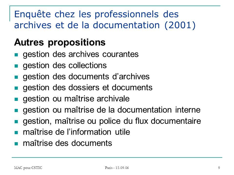 MAC pour CSTIC Paris - 15.09.06 9 Enquête chez les professionnels des archives et de la documentation (2001) Autres propositions gestion des archives