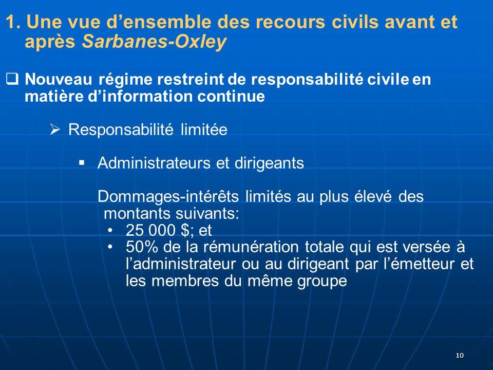 10 1. Une vue densemble des recours civils avant et après Sarbanes-Oxley Nouveau régime restreint de responsabilité civile en matière dinformation con