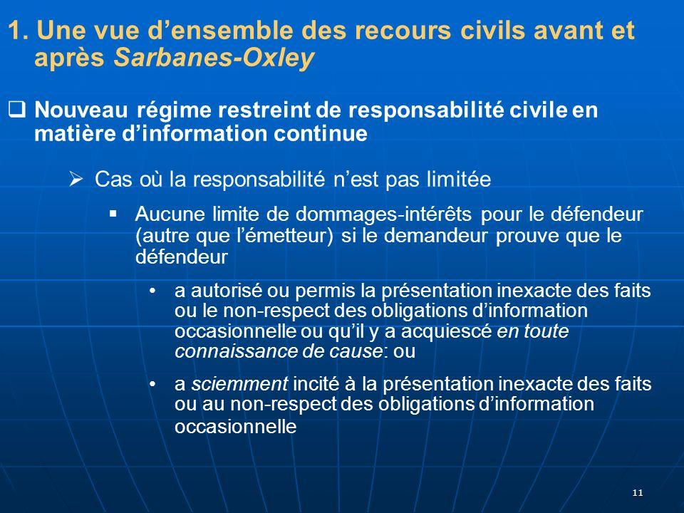 11 1. Une vue densemble des recours civils avant et après Sarbanes-Oxley Nouveau régime restreint de responsabilité civile en matière dinformation con