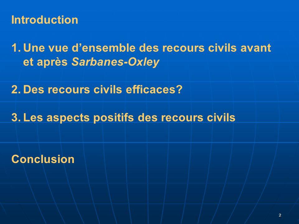 2 Introduction 1.Une vue densemble des recours civils avant et après Sarbanes-Oxley 2.Des recours civils efficaces? 3.Les aspects positifs des recours