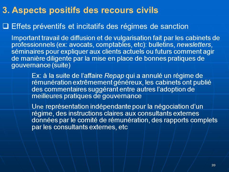 20 3. Aspects positifs des recours civils Effets préventifs et incitatifs des régimes de sanction Important travail de diffusion et de vulgarisation f