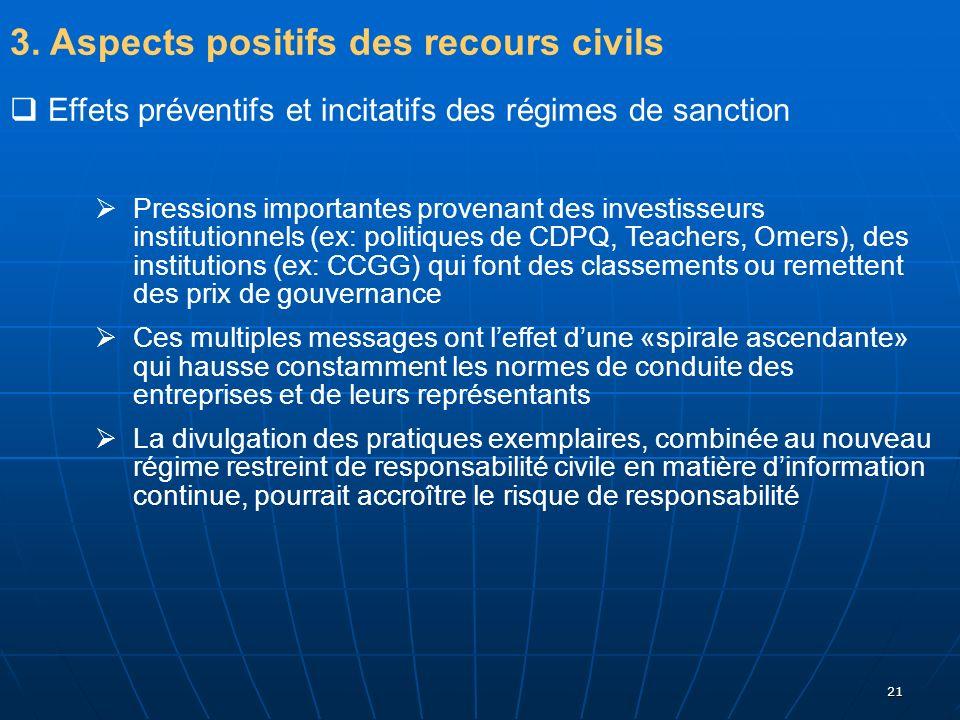 21 3. Aspects positifs des recours civils Effets préventifs et incitatifs des régimes de sanction Pressions importantes provenant des investisseurs in