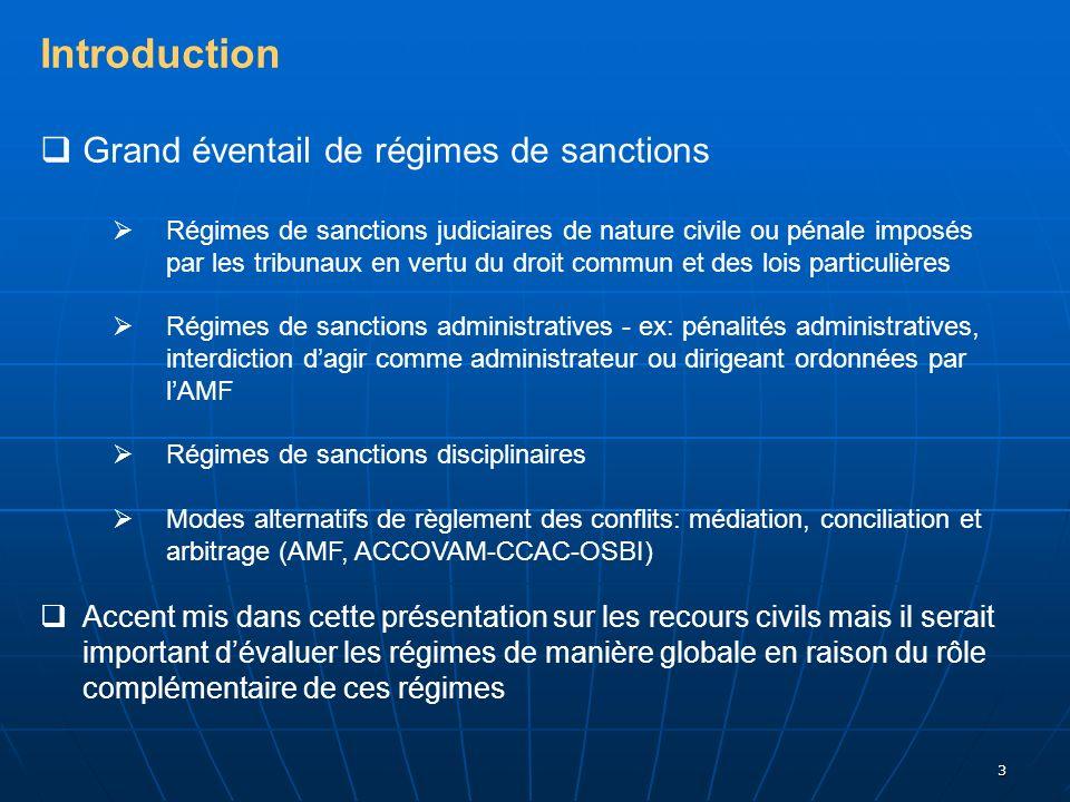 3 Introduction Grand éventail de régimes de sanctions Régimes de sanctions judiciaires de nature civile ou pénale imposés par les tribunaux en vertu d