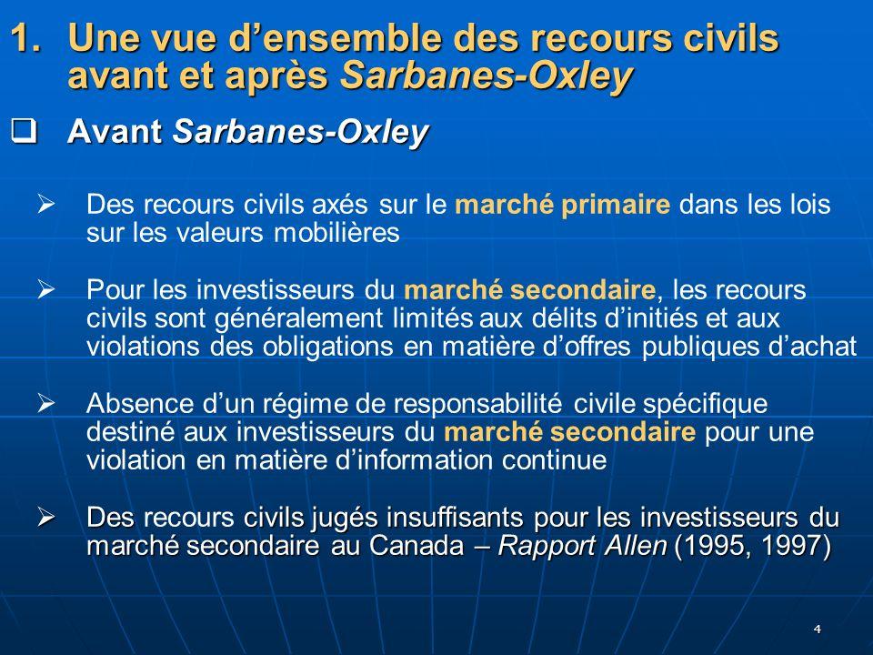 4 1. Une vue densemble des recours civils avant et après Sarbanes-Oxley Avant Sarbanes-Oxley Avant Sarbanes-Oxley Des recours civils axés sur le march
