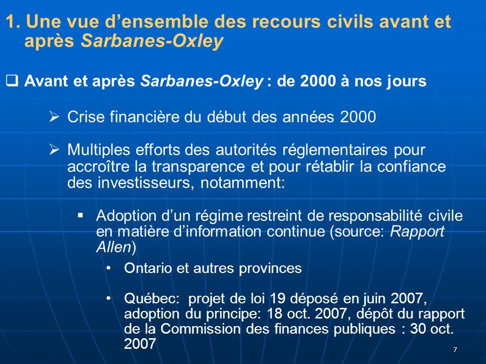 7 1. Une vue densemble des recours civils avant et après Sarbanes-Oxley Avant et après Sarbanes-Oxley : de 2000 à nos jours Crise financière du début