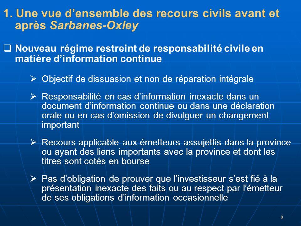 8 1. Une vue densemble des recours civils avant et après Sarbanes-Oxley Nouveau régime restreint de responsabilité civile en matière dinformation cont