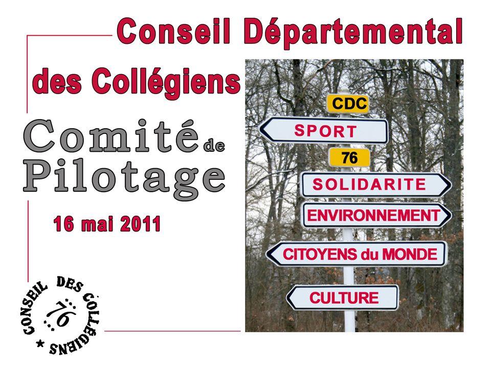 Le Conseil Départemental des Collégiens et la Direction de la Citoyenneté remercient le Comité de Pilotage, - Monsieur lInspecteur Adjoint dAcadémie, - Les principaux de collèges.
